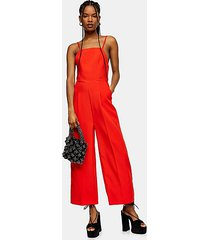 red strap back jumpsuit - red