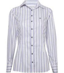 camisa dudalina manga longa tricoline fio tinto degradê feminina (listrado, 46)