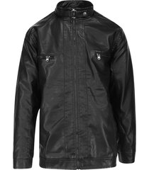 jaqueta masculina plus size preta com zíper