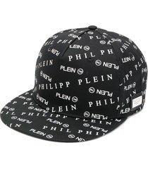 philipp plein all over logo baseball cap - black