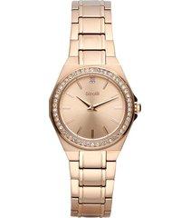 orologio solo tempo con cinturino a maglie e cassa in acciaio oro rosa per donna