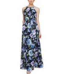 sl fashions belted halter maxi dress