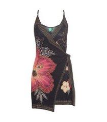 vestido flor de luz farm - preto