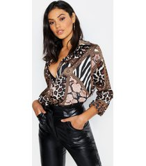 tall chain & animal print shirt, stone