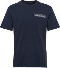 scotch logo artwork crewneck tee t-shirts short-sleeved blå scotch & soda