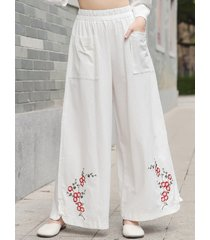 pantaloni in cotone a gamba larga ricamati vintage