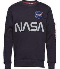nasa reflective sweater sweat-shirt tröja blå alpha industries