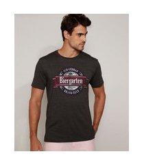 """camiseta masculina biergarten"""" manga curta gola careca cinza mescla escuro"""""""