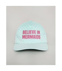 "boné infantil aba curva believe in mermaids"" estampado verde claro"""
