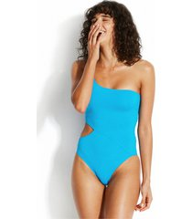 seafolly active one shoulder swimsuit blue