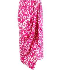 isabel marant pink silk draped asymmetric silk skirt