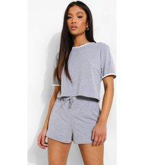 petite gestreepte woman pyjama set met shorts, grey marl