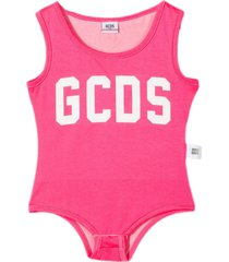 gcds fuchsia stretch cotton-blend bodysuit