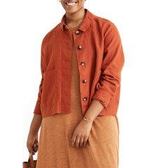 women's madewell connor crop linen chore jacket
