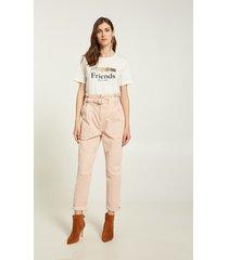motivi pantaloni carrot in cotone donna rosa
