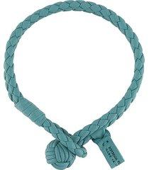 bottega veneta woven leather bracelet - blue