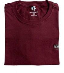 camiseta cuello redondo hombre - color vinotinto con gris