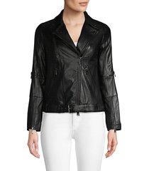 belted leather moto jacket
