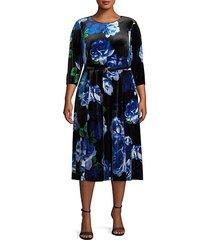 belted floral velvet dress