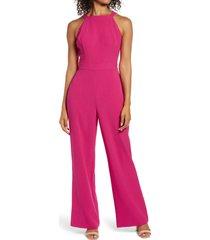 women's vince camuto back cutout halter jumpsuit, size 10 - pink