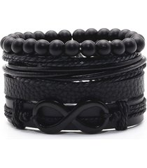 pulsera 4 manillas de cuero infinito brazalete para mujeres y hombres color negro