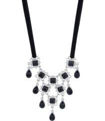 downton abbey ribbon stone drop bib necklace