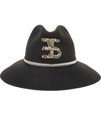 woman panama hat in black wool with jewel logo