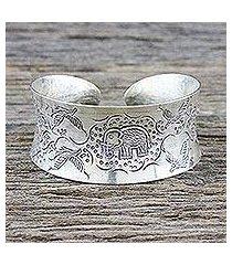 sterling silver cuff bracelet, 'lanna forest' (thailand)