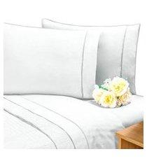 lençol c/ elástico cama viúva percal 200 fios 100% algodáo branco