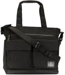 makavelic multi-pocket logo tote bag - black