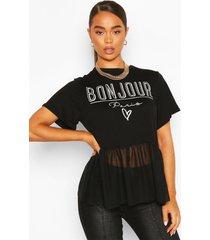 bonjour slogan mesh t-shirt, black