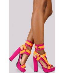 strappy ankle cuff open peep toe platform chunky heel bootie - pink orange multi