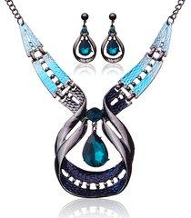 set di monili di lusso impostati set di collana di cristallo degli orecchini del rhinestone blu
