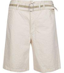 beige cotton denim shorts