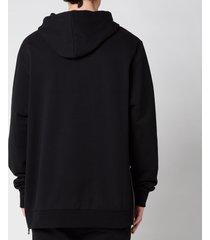 balmain men's oversized flock & rubber hoodie - black - m