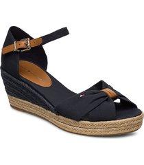 basbasic opened toe mid wedge sandalette med klack espadrilles svart tommy hilfiger