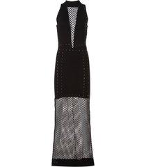 vestido john john paradise longo malha preto feminino (preto, gg)