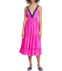 women's le superbe bougainvillea tiered silk midi dress