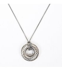 david yurman thoroughbred cable sterling silver diamond necklace silver sz: