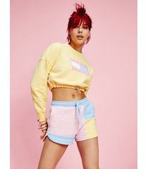 tommy hilfiger women's recycled pastel tie waist sweatshirt yellow - xl