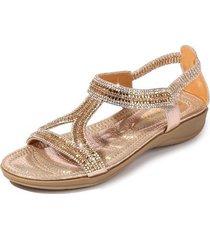 sandalias rhinestone triángulo hueco mujer-oro