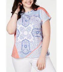 tommy hilfiger plus size pier patchwork top, created for macy's