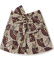 paloma tie-front printed cotton-poplin shorts