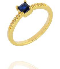 anel dona diva semi joias solitário quadrado azul