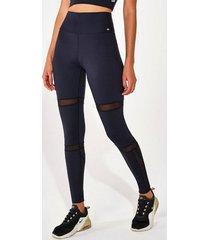 calça legging alto giro upco2 com recortes de tule preto 2111338 preto