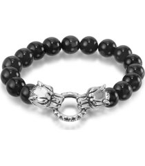 andrew charles by andy hilfiger men's onyx bead wolf head stretch bracelet in stainless steel (also in tiger's eye & white agate)