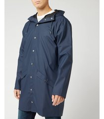 rains men's long jacket - blue - s-m