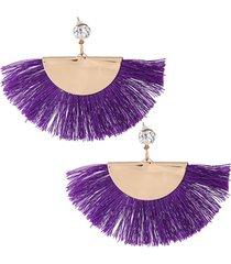 aretes dorados flecos violeta ar-11735
