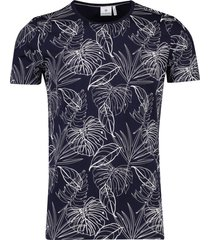 t-shirt marine wit geprint blue industry