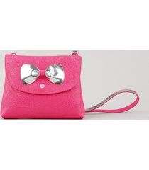 bolsa infantil com laço e brilho rosa